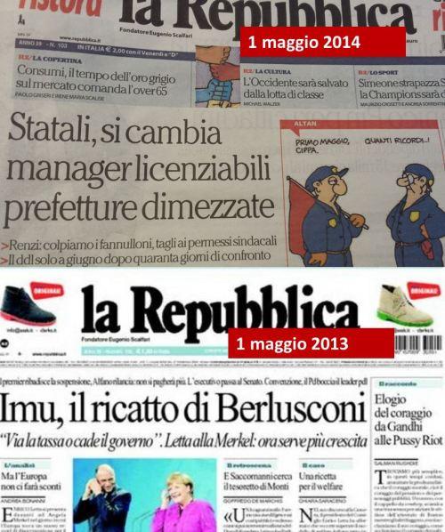 repubblica 1 maggio 2013 e 2014